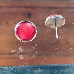 Vintage red watercolor studs